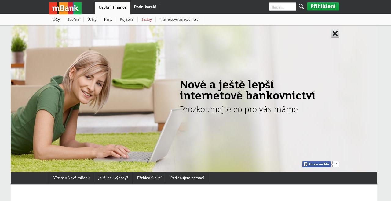 mBank - jak vstoupit účet